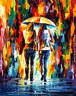 Leonid Afremov FRIENDS UNDER THE RAIN painting