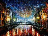 Leonid Afremov MISTY BRIDGE ST. PETERSBURG painting