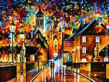 Leonid Afremov NIGHT IN THE OLD CITY painting