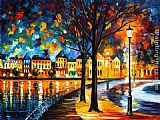 Leonid Afremov PARK BY THE RIVER painting