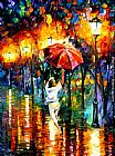 Leonid Afremov RED UMBRELLA painting