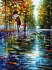 Leonid Afremov STROLL IN A AUTUMN PARK painting
