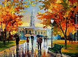 Leonid Afremov STROLL IN AN OCTOBER PARK painting