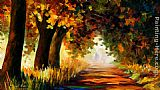 Leonid Afremov UNDER THE ARCH OF AUTUMN painting