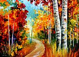 Leonid Afremov WHITE BIRCHES painting