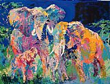 leroy neiman Paintings - Elephant Family