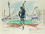 Leroy Neiman Shot Put painting