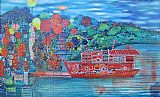 Lyndal Campbell Houseboat painting