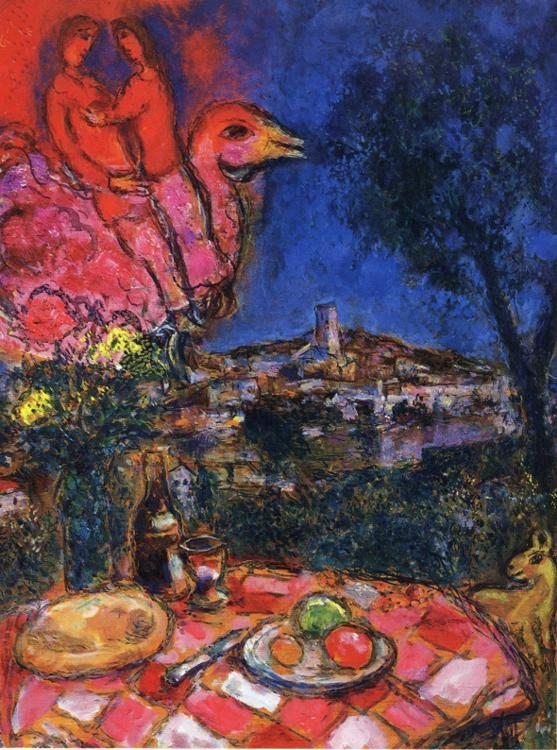 Marc Chagall Laid Table with View of Saint-Paul de Vance