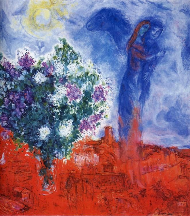Marc Chagall Lovers over Sant-Paul