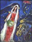 Music paintings - La Mariee by Marc Chagall