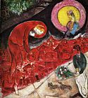 Marc Chagall Red Roofs painting