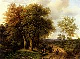 Marianus Adrianus Koekkoek Travellers Resting On A Wooded Path painting