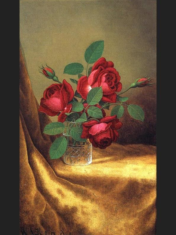 Martin Johnson Heade Red Roses in a Crystal Goblet