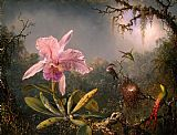 Martin Johnson Heade Cattleya Orchid and Three Brazilian Hummingbirds painting