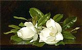 a magnolia on red velvet Paintings - Magnolias on a Wooden Table