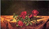 a magnolia on red velvet Paintings - Roses Lying on Gold Velvet