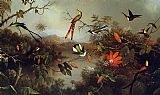 Tropical paintings - Tropical Landscape with Ten Hummingbirds by Martin Johnson Heade
