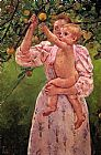 Mary Cassatt Baby Reaching For An Apple Aka Child Picking Fruit painting
