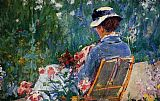 mad dogs Paintings - Lydia Seated In The Garden With A Dog In Her Lap