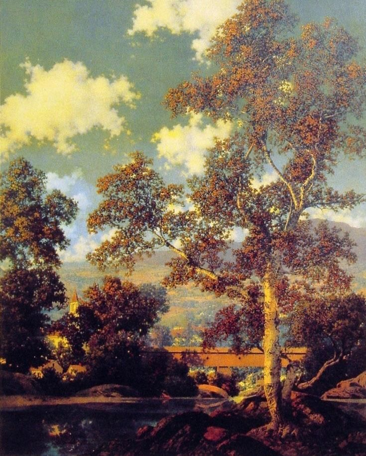 Maxfield Parrish Early Autumn White Birch