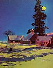 Maxfield Parrish Moonlit Night_ Winter painting