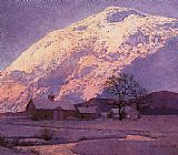 Maxfield Parrish Mountain Farm at Winter painting