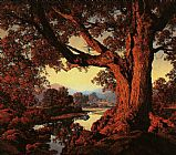 Maxfield Parrish Riverbank in Autumn painting