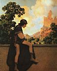 Maxfield Parrish The Knave Watches Violetta Depart painting