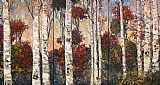 landscape At the Lake - triptych painting