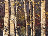 Maya Eventov Birches at Twilight painting