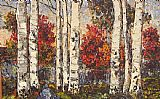 Maya Eventov Crimson and Birches painting