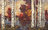 Maya Eventov Lakeside Birches painting