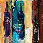 Maya Green Wine bottles painting
