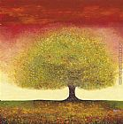 avond evening red tree Paintings - Dreaming Tree Red