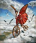 Michael Cheval bicycler painting