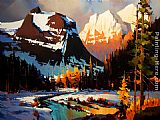 Michael O'Toole Evening on the Columbia Icefield Parkway painting