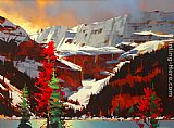 Michael O'Toole Lake Louise Sunset painting