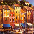 Michael O'Toole Portofino Waterfront painting
