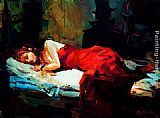 Michael O'Toole Sleeping Lady in Red painting