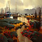 Michael O'Toole Two Boats at Skidegate painting