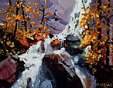 Michael O'Toole Waterfall Near Mt. Robson painting