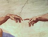 Michelangelo Buonarroti The Creation of Adam hand painting