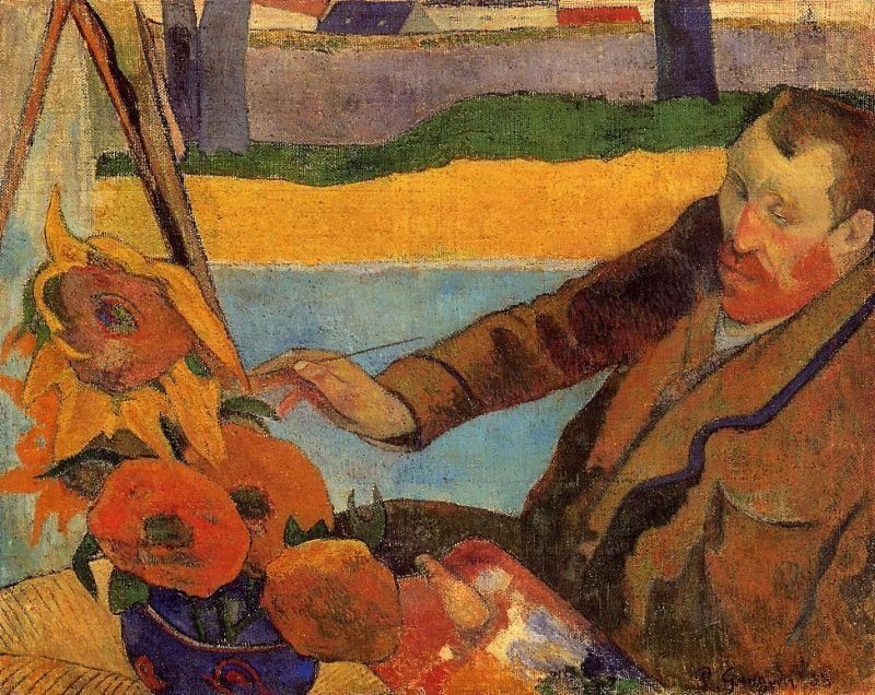 Paul Gauguin Portrait of Vincent van Gogh Painting Sunflowers