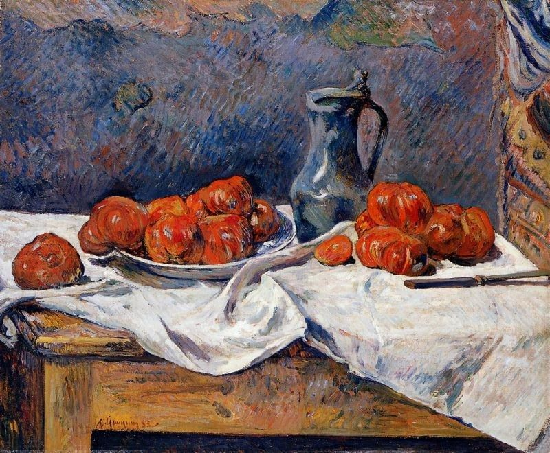 Paul Gauguin Tomatoes and a Pewter Tankard on a Table