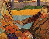 Paul Gauguin Portrait of Vincent van Gogh Painting Sunflowers painting