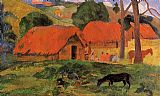 Paul Gauguin Three Huts Tahiti painting
