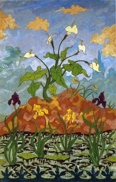 Paul Ranson Arums and Purple and Yellow Irises