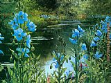 Peter Ellenshaw Blue Poppies painting