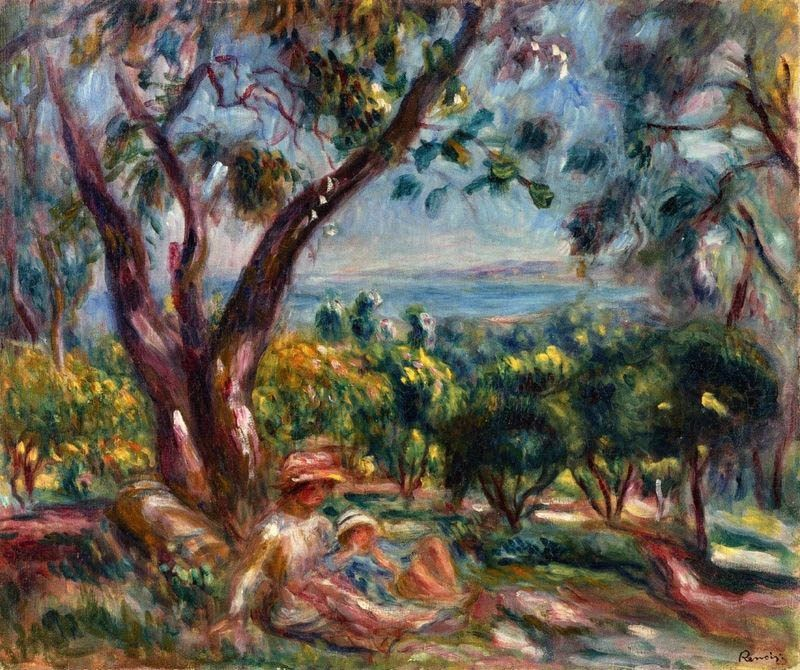 Pierre Auguste Renoir Cagnes Landscape with Woman and Child